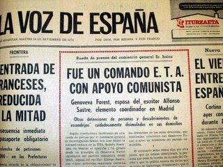 """Recorte de """"La voz de España"""", relacionando a ETA con los comunistas"""